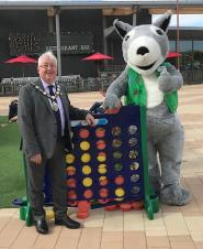 The Mayor of Rushden Cllr David Coleman and Cyril the Squirrel
