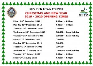 Christmas & New Year Opening Times 2019 - 2020