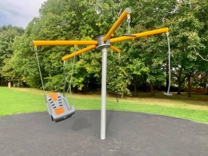 New piece of inclusive play equipment at Hall Park